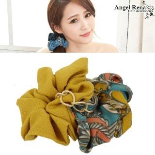【Angel Rena】雙層印花金條大腸圈髮束(黃色系)