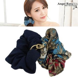 【Angel Rena】雙層印花金條大腸圈髮束(藍色系)