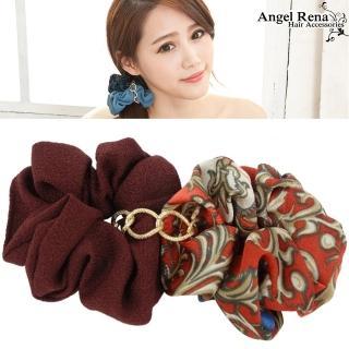 【Angel Rena】雙層印花金條大腸圈髮束(棗紅系)