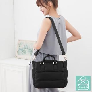 【89.Alley】空氣包 側背包 防潑水兩用三層金屬拉鏈媽媽包(黑色)