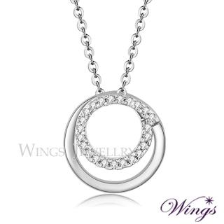 【WINGS】幸福環繞 精鍍白K金璀璨方晶鋯石項鍊(吊墜 墜子)