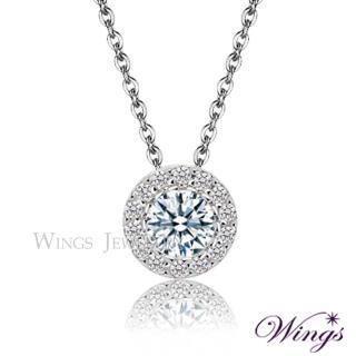 【WINGS】頸鍊 經典環鑽款八心八箭精鍍白K金項鍊 主鑽50分款(墜子 擬真鑽 鋯鑽)