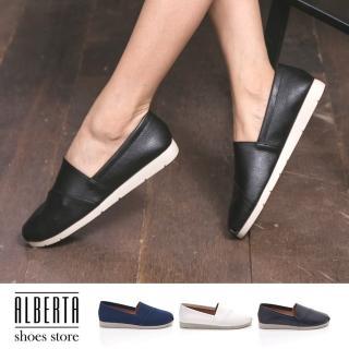 【Alberta】MIT台灣製 素色簡約舒適 好穿拖 圓頭平底 包鞋 懶人鞋 休閒鞋(黑色)