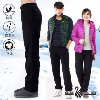 【遊遍天下】中性款防風防潑水禦寒刷毛保暖褲/ 防風雪褲 P103黑(S-5L)