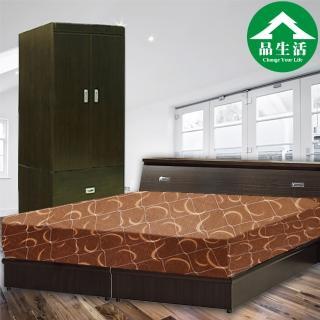 【品生活】經典優質四件式房間組2色可選-雙人加大6尺(床頭+床底+衣櫥+日式護背彈簧床-6分板)