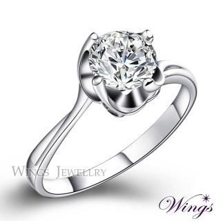 【WINGS】繾綣 八心八箭閃耀方晶鋯石精鍍白K金戒指(女戒 鋯鑽 擬真鑽)