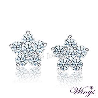 【WINGS】繽紛花漾 精鍍白K金 針式耳環(耳針 穿式 花)