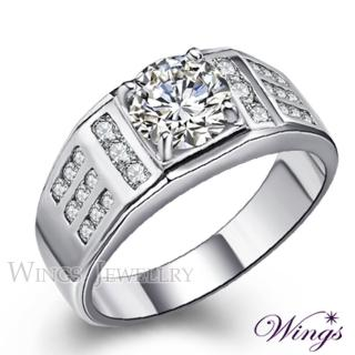 【WINGS】王者再臨 閃耀八心八箭方晶鋯石美鑽戒指(男戒 鋯鑽 擬真鑽)