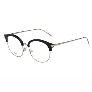 【FENDI】-復古眉毛圓框 光學眼鏡FF0165(銀色)