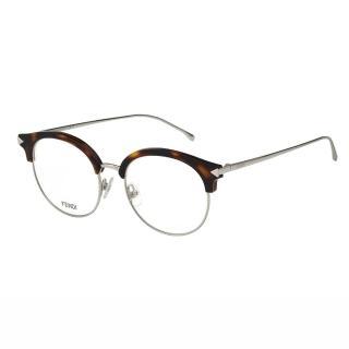 【FENDI】-復古眉毛圓框 光學眼鏡FF0165(琥珀色)