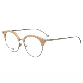 【FENDI】-復古眉框圓框 光學眼鏡FF0165(粉膚色)