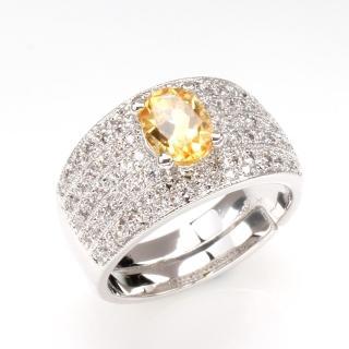 【寶石方塊】財源滾滾天然1克拉黃水晶戒指-活圍設計