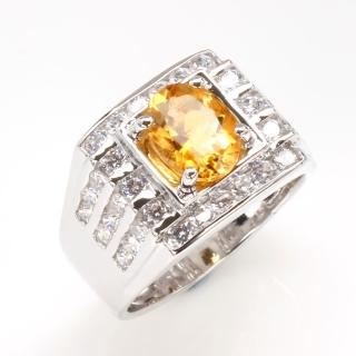 【寶石方塊】飛黃騰達天然2克拉黃水晶戒指-活圍設計