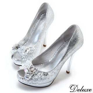 【Deluxe】全真皮冰雪女王花朵魚口跟鞋(銀)