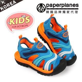【PAPERPLANES韓國童鞋】正韓空運。繽紛亮麗撞色魔鬼氈兒童休閒涼鞋(7-7757藍橘/現+預)