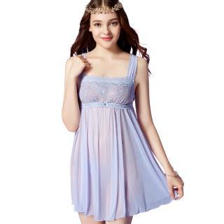 【思薇爾】芭紗花園系列蕾絲刺繡性感連身小夜衣(紫繡球)