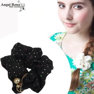 【Angel Rena】雪紡點點星星金珠垂墜髮束(黑色)