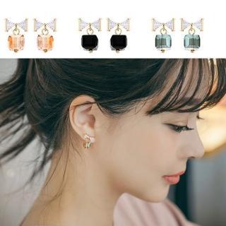 【梨花HaNA】韓國妳的名字水晶蝴蝶結禮物耳環