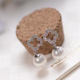 【梨花HaNA】韓國925銀華貴小姐四葉草綴珍珠耳環