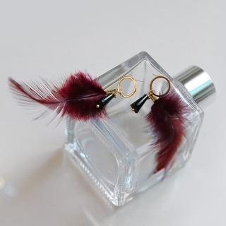 【梨花HaNA】韓國夢裡想像酒紅羽毛黑水晶耳環