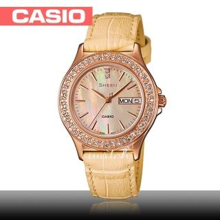 【CASIO 卡西歐 SHEEN 系列】浪漫大方_真皮錶帶_防水_礦物玻璃_氣質指針_女錶(SHE-4800GL)  CASIO 卡西歐