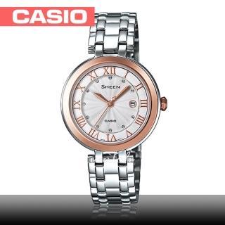 【CASIO 卡西歐 SHEEN 系列】浪漫氣質_不鏽鋼錶帶_防水_礦物玻璃_羅馬數字_女錶(SHE-4033SG)   CASIO 卡西歐