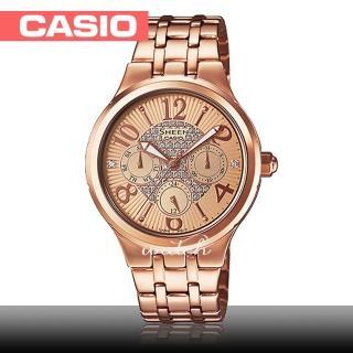 【CASIO 卡西歐 SHEEN 系列】送禮首選_氣質女錶_不鏽鋼錶帶_防水_礦物玻璃(SHE-3808PG)  CASIO 卡西歐