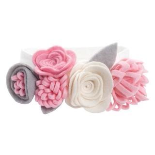 【美國 Elegant Baby】不織布大花圈彈性髮帶 - 奶油桃粉三色(9645)