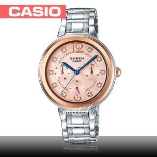 【CASIO 卡西歐 SHEEN 系列】氣質首選_不鏽鋼錶帶_防水_礦物玻璃_藍色指針_女錶(SHE-3048SG)