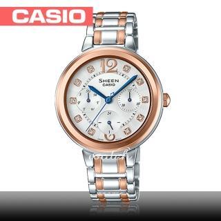 【CASIO 卡西歐 SHEEN 系列】氣質首選_不鏽鋼錶帶_防水_礦物玻璃_藍色指針_女錶(SHE-3048BSG)   CASIO 卡西歐