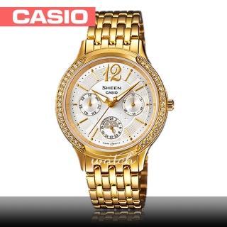 【CASIO 卡西歐 SHEEN 系列】送禮首選_氣質優雅_不鏽鋼錶帶_防水_指針女錶(SHE-3030GD)  CASIO 卡西歐