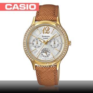 【CASIO 卡西歐 SHEEN 系列】送禮首選_氣質優雅_皮革錶帶_防水_指針女錶(SHE-3030BGL)  CASIO 卡西歐