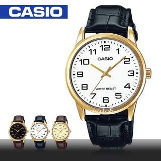 【CASIO 卡西歐】型男必備_簡單大方_皮革錶帶_生活防水_礦物玻璃_男錶(MTP-V001GL)
