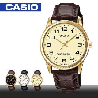 【CASIO 卡西歐】型男必備_簡單大方_皮革錶帶_生活防水_礦物玻璃_男錶(MTP-V001GL)  CASIO 卡西歐