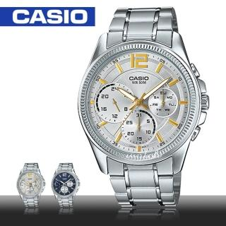 【CASIO 卡西歐】上班族推薦_三眼不銹鋼石英男錶(MTP-E305D)   CASIO 卡西歐