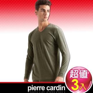 【皮爾卡登 Pierre Carddin】彈力棉V領長袖衫-3件組(舒適保暖)