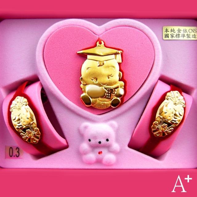 【A+】天才博士彌月金飾套組33130(0.3錢)
