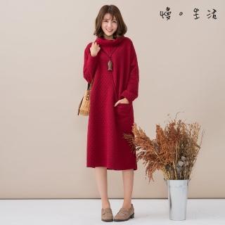【*KatieQ 慢。生活】高領菱格紋單口袋連身裙 -F(黑/紅)