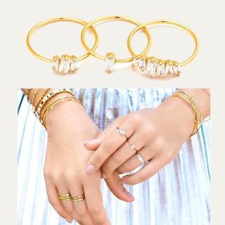 【GORJANA】公主切割 方鑽戒指 金色三環戒 Amara Ring(公主切割方鑽三環戒)