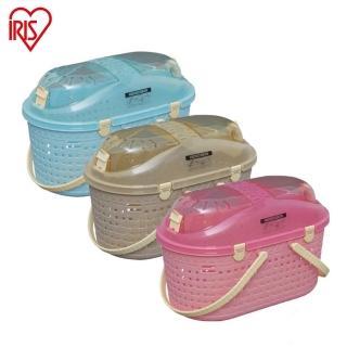 【日本IRIS】透明上蓋仿藤編寵物提籃外出籠MPC-450小型寵物貓犬兔