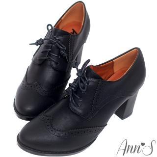【Ann'S】英倫甜心-綁帶牛津雕花粗跟踝靴(黑)