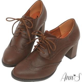【Ann'S】英倫甜心-綁帶牛津雕花粗跟踝靴(咖)