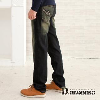 【Dreamming】波點繡線刷色伸縮中直筒牛仔褲(黑色)