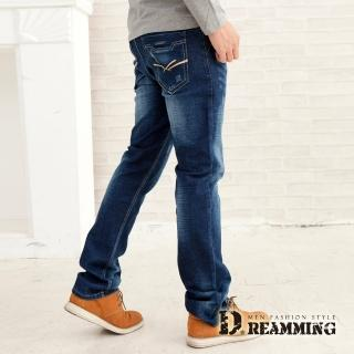 【Dreamming】日系洗白抓痕縮小直筒牛仔褲