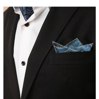 【拉福】龍族西裝口袋巾裝飾新郎晏會(藍底)