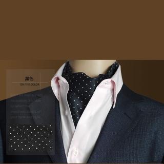 【拉福】男大領巾圍巾造型紳仕歐美(黑底白點)   拉福