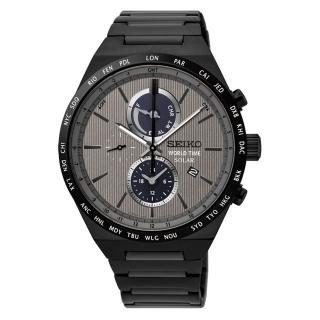 【SEIKO 精工】SOLAR 灰色地帶太陽能世界時間腕錶(41mm/V195-0AE0N)