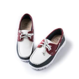 【ALAIN DELON】經典撞色真皮綁帶帆船鞋A75207(3色    咖啡色  白色 磚紅色)