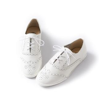 【ALAIN DELON】真皮綁帶雕花牛津平底鞋A77206(2色      白色 棕色)