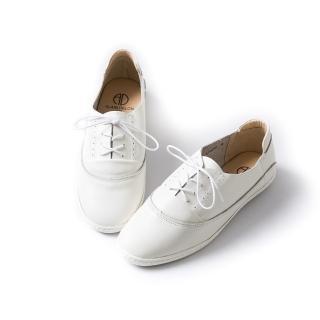 【ALAIN DELON】真皮綁帶素面牛津平底鞋A77207(2色      白色   黑色)